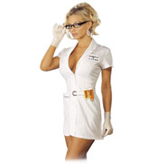 Body Rub Nurse with rubber gloves and a phone number